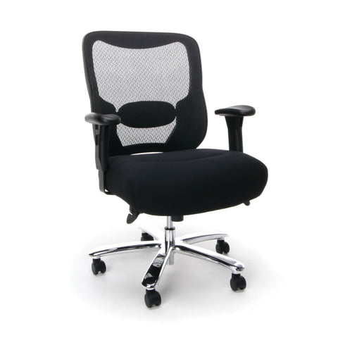Essentials by OFM ESS-200 Big and Tall Swivel Mesh Office Chair with Arms, Black/Chrome ; UPC: 845123080115 ; Image 1