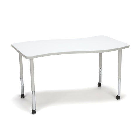 OFM Adapt Series Large Wave Standard Table - 25-33? Height Adjustable Desk with Casters, White (WAVE-L-LLC) ; UPC: 845123096178 ; Image 1