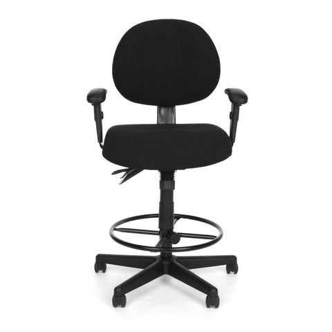 OFM Model 241-AA-DK 24-Hour Ergonomic Multi-Adjustable Upholstered Task Chair with Arms and Drafting Kit, Black ; UPC: 845123031391 ; Image 2