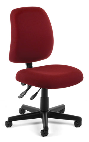 OFM Posture Series Model 118-2 Armless Swivel Task Chair, Fabric, Mid Back, Wine ; UPC: 811588012572 ; Image 1