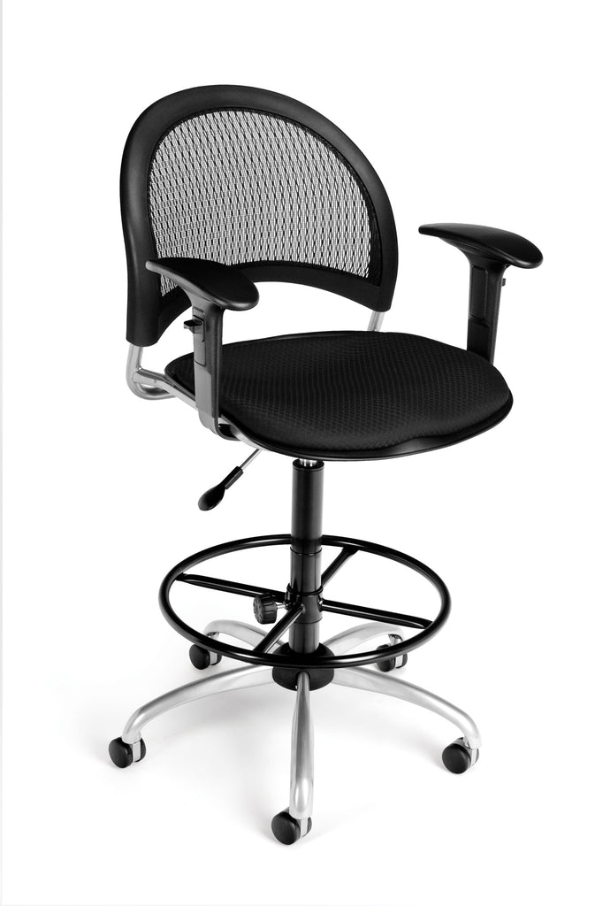 OFM Moon Series Model 336-AA3-DK Fabric Swivel Task Chair with Arms and Drafting Kit, Black ; UPC: 845123014240 ; Image 1