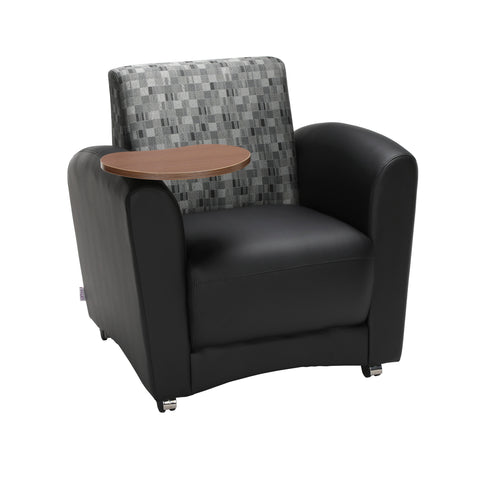 OFM InterPlay Series Single Seat Chair with Bronze Tablet, in Black/Nickel (821-N-606-BRONZ) ; UPC: 845123031087 ; Image 1