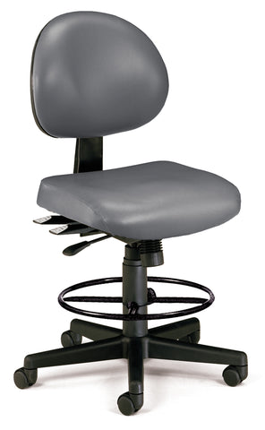 OFM 241-VAM-DK 24 Hour Ergonomic Armless Task Chair with Drafting Kit, Antimicrobial Vinyl, Mid Back, Charcoal ; UPC: 845123012567 ; Image 1
