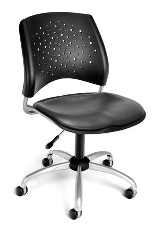 OFM 326-VAM-604 Stars Swivel Vinyl Chair, Charcoal ; UPC: 845123012635 ; Image 1