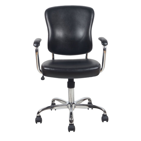 Essentials by OFM ESS-6080 Swivel Mid Back Bonded Leather Task Chair with Chrome Base, Black ; UPC: 089191014348 ; Image 2