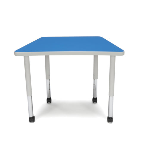 OFM Adapt Series Trapezoid Student Table - 20-28? Height Adjustable Desk with Casters, Blue (TRAP-SLC) ; UPC: 845123096383 ; Image 2