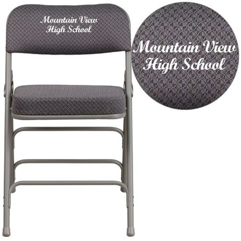 Flash Furniture Embroidered HERCULES Series Premium Curved Triple Braced & Double Hinged Gray Fabric Metal Folding Chair AWMC320AFGRYEMBGG ; Image 1 ; UPC 889142018407
