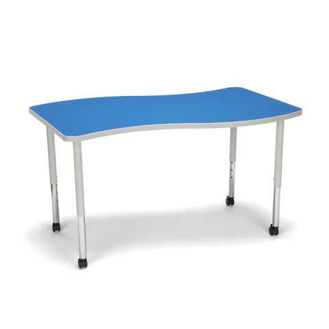 OFM Adapt Series Large Wave Standard Table - 25-33? Height Adjustable Desk with Casters, Blue (WAVE-L-LLC) ; UPC: 845123096147 ; Image 1