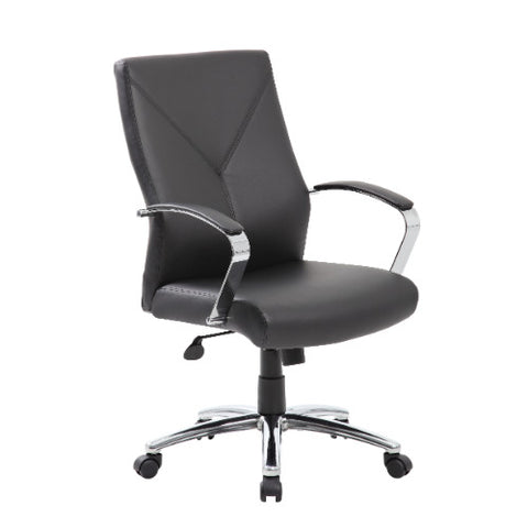 Boss LeatherPlus Executive Chair in Black with Chrome Base ; UPC:751118101010