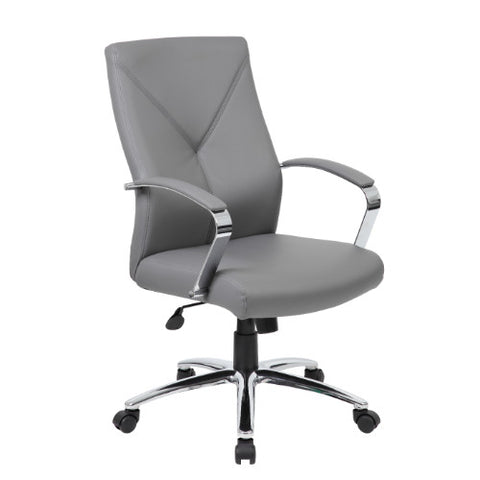 Boss LeatherPlus Executive Chair in Grey ; UPC:751118101027