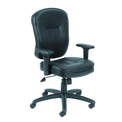 Boss Black Leather Task Chair W/ Wild Arms ; UPC:751118156119