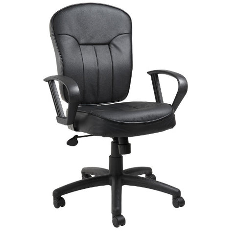 Boss Black Leather Task Chair W/ Loop Arms ; UPC:751118156218