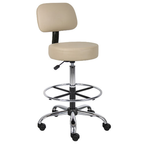 Boss Caressoft Medical/Drafting Stool W/ Back Cushion in Beige ; UPC:751118245929
