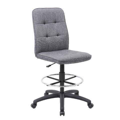 Boss Slate Grey Commercial Grade Linen  Drafting Stool ; UPC:751118330953