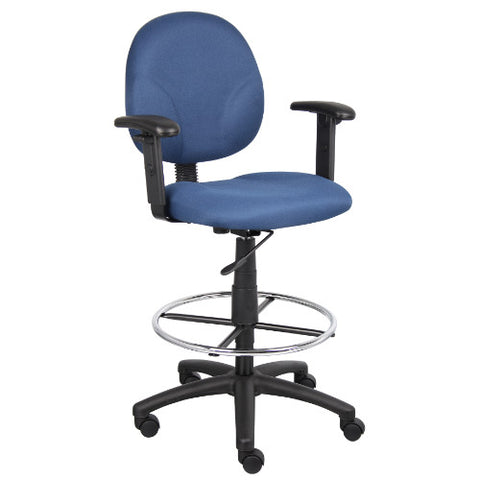 Boss Blue Fabric Drafting Stools W/Adj Arms & Footring ; UPC:751118169133