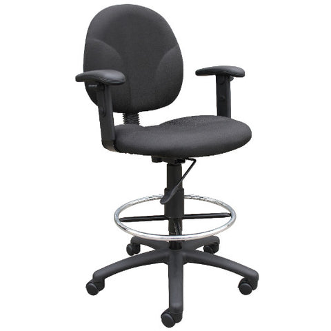 Boss Black Fabric Drafting Stools W/Adj Arms & Footring ; UPC:751118169119