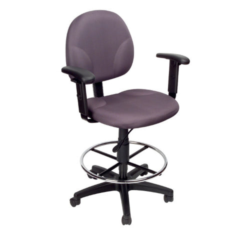Boss Gray Fabric Drafting Stools W/Adj Arms & Footring ; UPC:751118169126