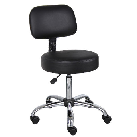 Boss Black Caressoft Medical Stool, Stools W/ Back Cushion ; UPC:751118024517