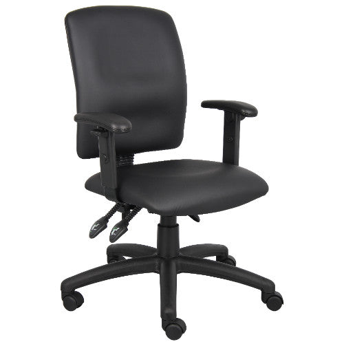 Boss Multi-Function LeatherPlus Task Chair W/ Adjustable Arms ; UPC:751118304602
