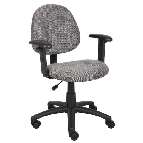 Boss Grey  Deluxe Posture Chair W/ Adjustable Arms ; UPC:751118031621