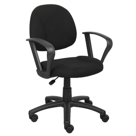 Boss Black  Deluxe Posture Chair W/ Loop Arms ; UPC:751118031713