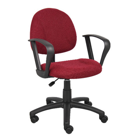 Boss Burgundy  Deluxe Posture Chair W/ Loop Arms ; UPC:751118031744