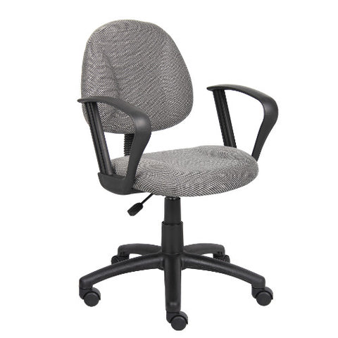Boss Grey  Deluxe Posture Chair W/ Loop Arms ; UPC:751118031720