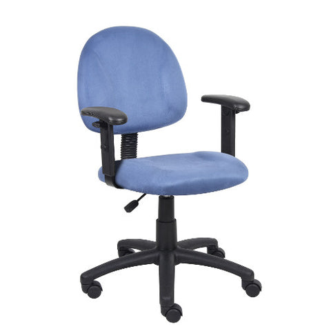 Boss Blue Microfiber Deluxe Posture Chair W/ Adjustable Arms.  ; UPC:751118326031