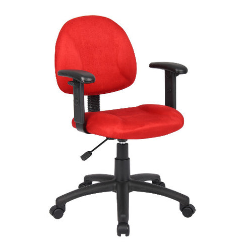 Boss Red Microfiber Deluxe Posture Chair W/ Adjustable Arms. ; UPC:751118326192