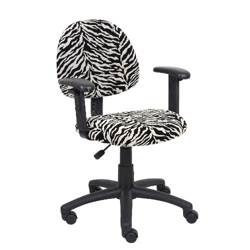 Boss Zebra Print Microfiber Deluxe Posture Chair W/ Adjustable Arms. ; UPC:751118326116