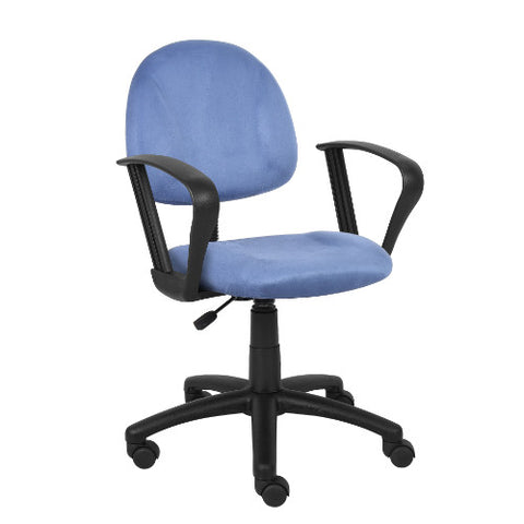 Boss Blue Microfiber Deluxe Posture Chair W/ Loop Arms. ; UPC:751118327038