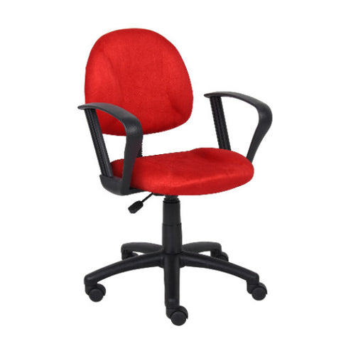 Boss Red Microfiber Deluxe Posture Chair W/ Loop Arms. ; UPC:751118327199