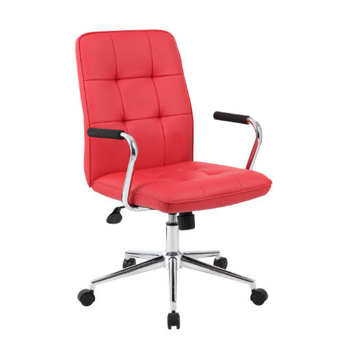Boss Modern Office Chair w/Chrome Arms - Red ; UPC:751118331196