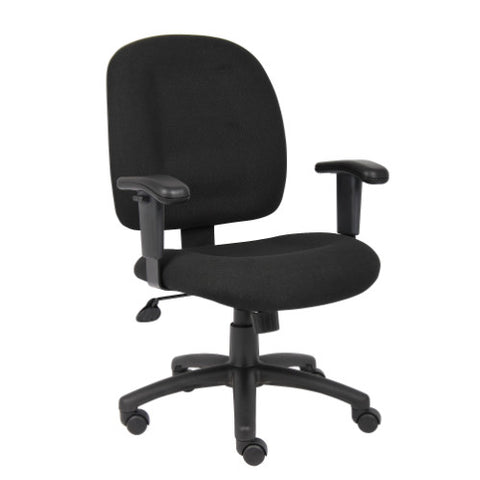 Boss Black Fabric Task Chair W/ Adjustable Arms ; UPC:751118495010