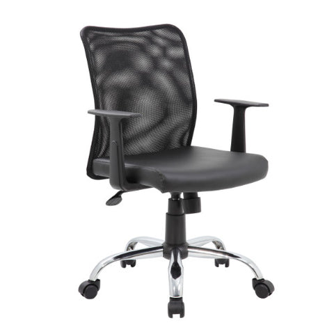 Boss Budget Mesh Task Chair W/ T-Arms & Chrome Base ; UPC:751118611588