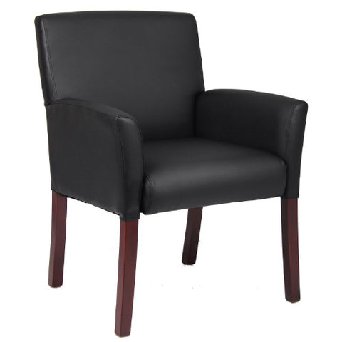 Boss Box Arm Guest Chair W/Mahogany Finish  ; UPC:751118061918