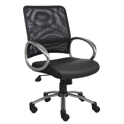 Boss Mesh Back W/ Pewter Finish Task Chair in Black ; UPC:751118640618