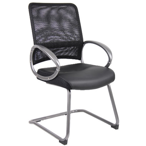 Boss Mesh Back W/ Pewter Finish Guest Chair in Black ; UPC:751118640915