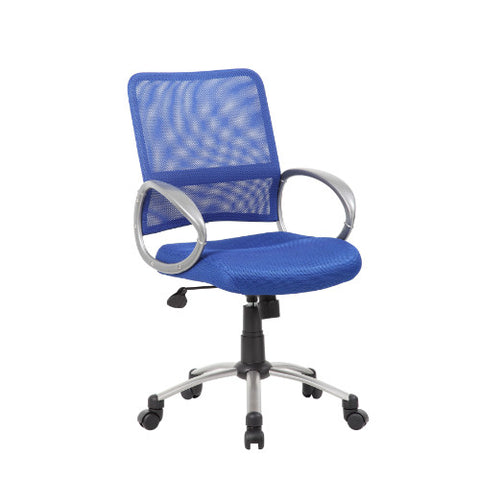 Boss Mesh Back W/ Pewter Finish Task Chair in Blue ; UPC:751118641639
