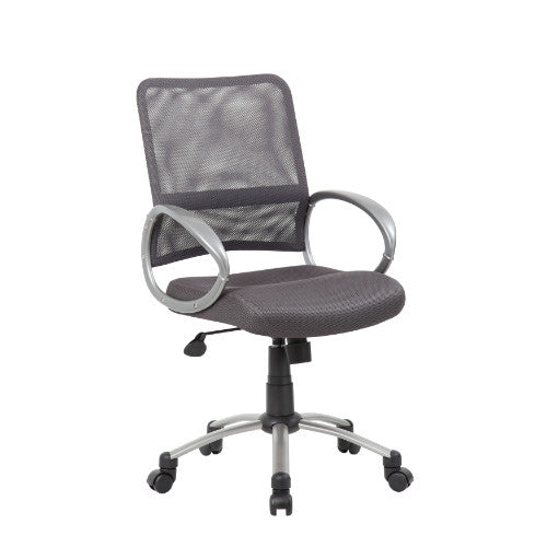 Boss Mesh Back W/ Pewter Finish Task Chair in Charcoal Grey ; UPC:751118641622