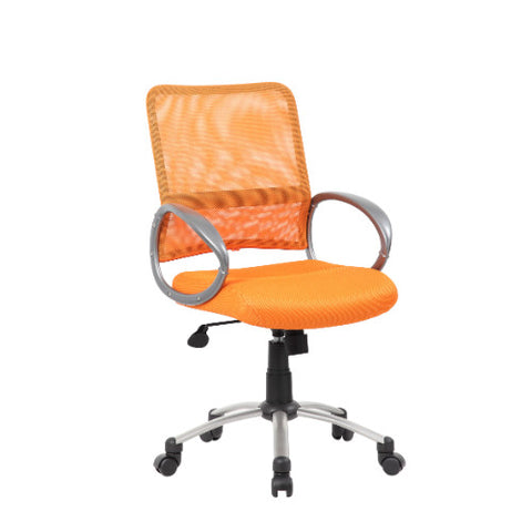 Boss Mesh Back W/ Pewter Finish Task Chair in Orange ; UPC:751118641684