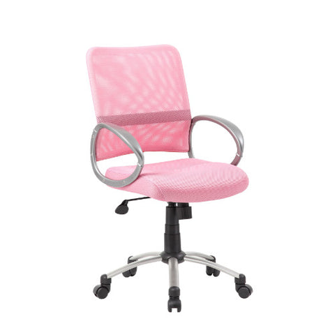 Boss Mesh Back W/ Pewter Finish Task Chair in Pink ; UPC:751118641677