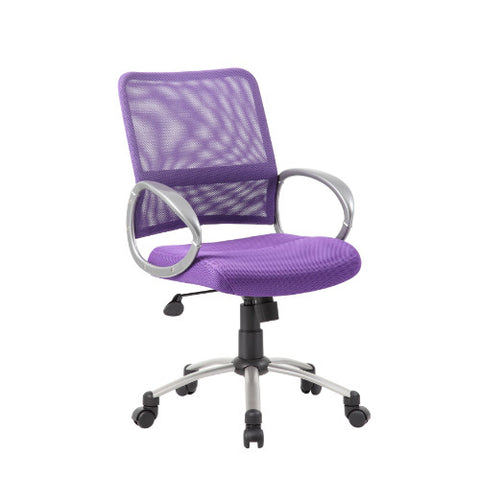 Boss Mesh Back W/ Pewter Finish Task Chair in Purple ; UPC:751118641653