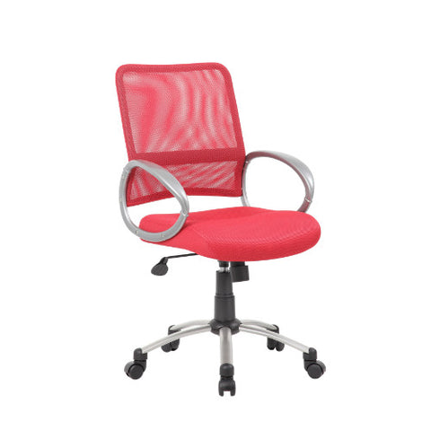 Boss Mesh Back W/ Pewter Finish Task Chair in Red ; UPC:751118641646