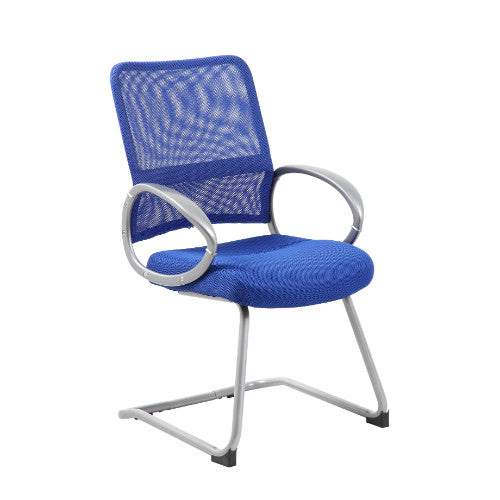 Boss Mesh Back W/ Pewter Finish Guest Chair in Blue ; UPC:751118641936