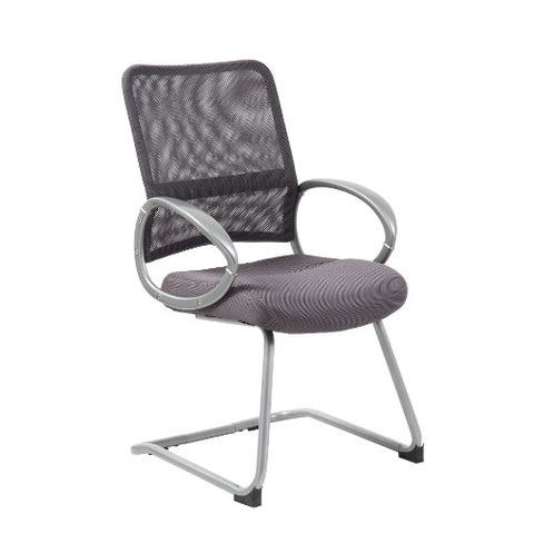 Boss Mesh Back W/ Pewter Finish Guest Chair in Charcoal Grey ; UPC:751118641929
