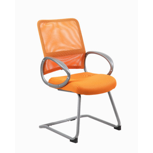 Boss Mesh Back W/ Pewter Finish Guest Chair in Orange ; UPC:751118641981