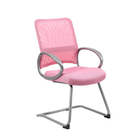 Boss Mesh Back W/ Pewter Finish Guest Chair in Pink ; UPC:751118641974