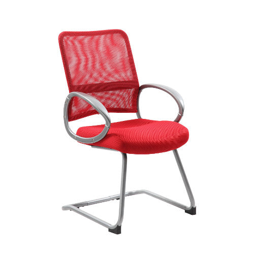Boss Mesh Back W/ Pewter Finish Guest Chair in Red ; UPC:751118641943