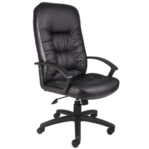 Boss High Back LeatherPlus Chair in Black ; UPC:751118730111